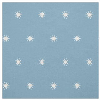 Small White Starbursts on Carolina Blue Fabric