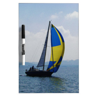 Small yacht big spinnaker. dry erase white board