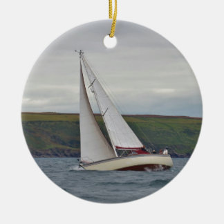 Small Yacht Sailing Hard Christmas Ornament