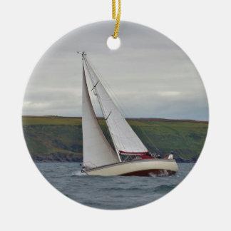 Small Yacht Sailing Hard Round Ceramic Decoration