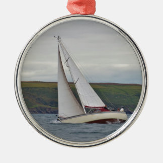 Small Yacht Sailing Hard Silver-Colored Round Decoration