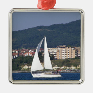 Small Yacht Silver-Colored Square Decoration