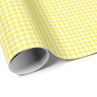 Small Yellow and White Houndstooth Wrapping Paper