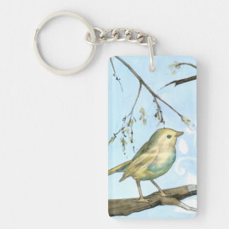Small Yellow Bird Perched on a Branch Looking up Double-Sided Rectangular Acrylic Key Ring