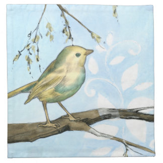 Small Yellow Bird Perched on a Branch Looking up Napkin