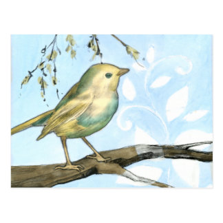 Small Yellow Bird Perched on a Branch Looking up Postcard