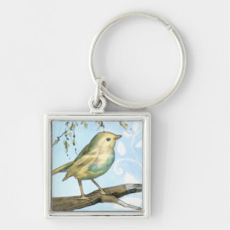 Small Yellow Bird Perched on a Branch Looking up Silver-Colored Square Key Ring