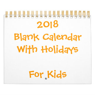 Small Yellow Blank Calendar 2018 For Kids