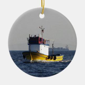 Small Yellow Fishing Boat Christmas Ornament