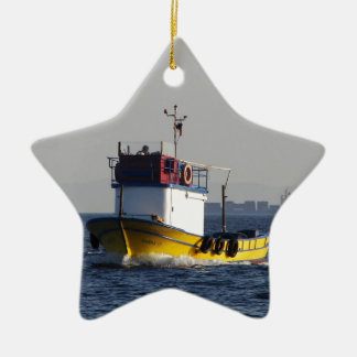 Small Yellow Fishing Boat Christmas Ornament