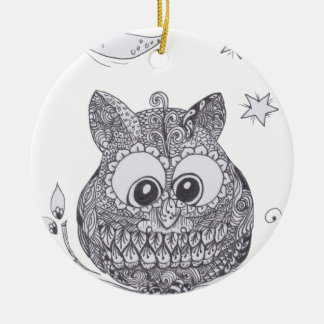 Small zentangle owl with moon ornaments