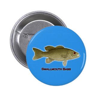 Smallmouth Bass Illustration - (blue background) 6 Cm Round Badge