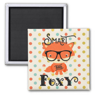 Smart AND Foxy-Stripes Square Magnet