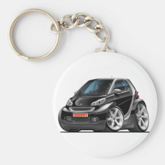 Smart Black Car Basic Round Button Key Ring