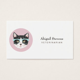 Smart Black & White Cat Wearing Glasses Business Card