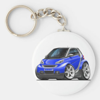 Smart Blue Car Basic Round Button Key Ring