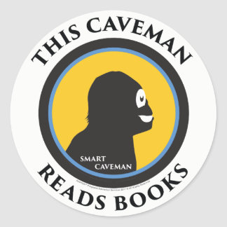 Smart Caveman Stickers: This Caveman Reads Books Classic Round Sticker