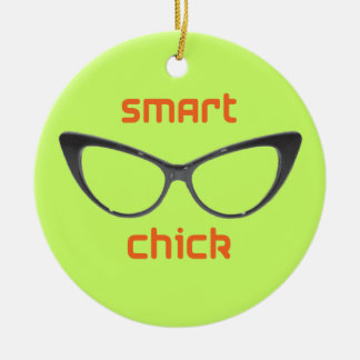 Smart Chick Geek Eyeglasses Round Ceramic Decoration
