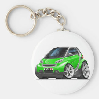 Smart Green Car Basic Round Button Key Ring