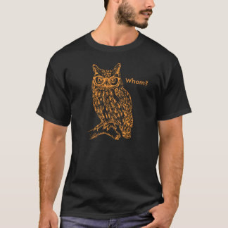 Smart Hipster Owl with Glasses Orange Customizable T-Shirt