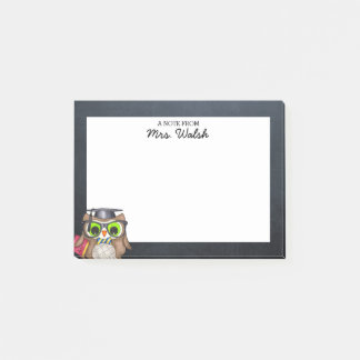 Smart Owl Chalkboard Personalized Teacher Post-it Notes
