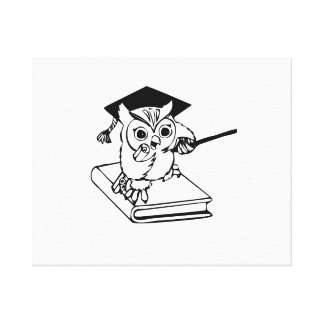 Smart Owl on Book Gallery Wrapped Canvas