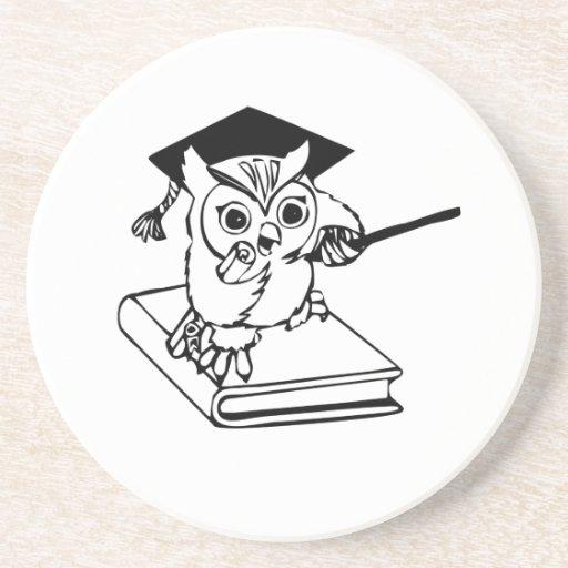 Smart Owl on Book Beverage Coaster