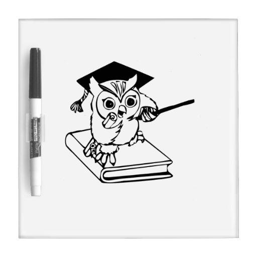 Smart Owl on Book Dry Erase Board