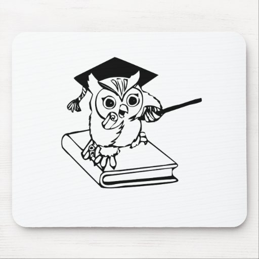 Smart Owl on Book Mousepads