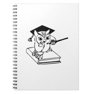 Smart Owl on Book Spiral Notebooks