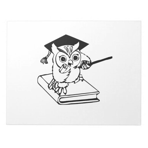 Smart Owl on Book Memo Notepads