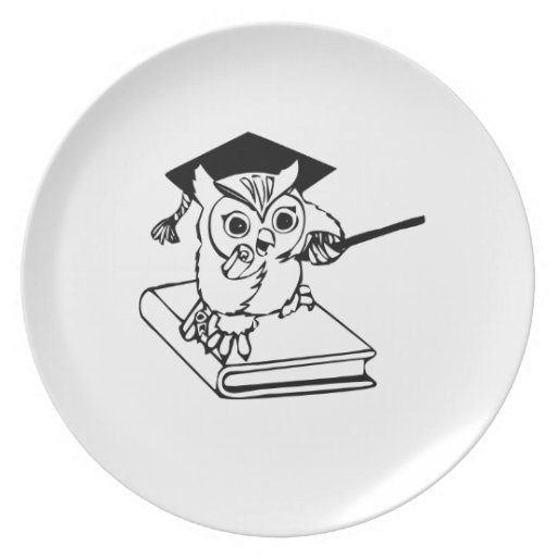 Smart Owl on Book Party Plates