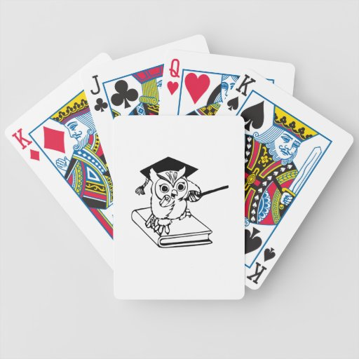 Smart Owl on Book Bicycle Poker Cards