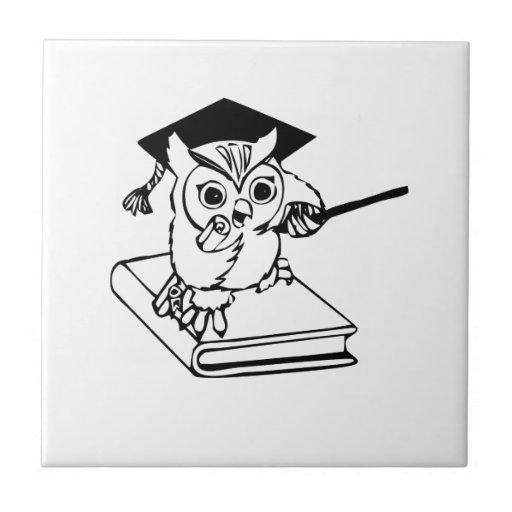 Smart Owl on Book Tiles
