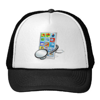 Smart phone or tablet pc health check concept hats