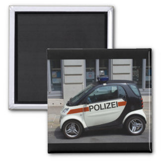 smart Police Car Square Magnet