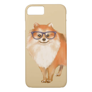 Smart Pomeranian Puppy (Background Color Editable) iPhone 8/7 Case