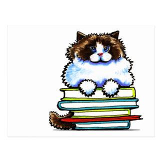 Smart Ragdoll Kitty Books Postcard