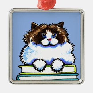 Smart Ragdoll Kitty Books Silver-Colored Square Decoration