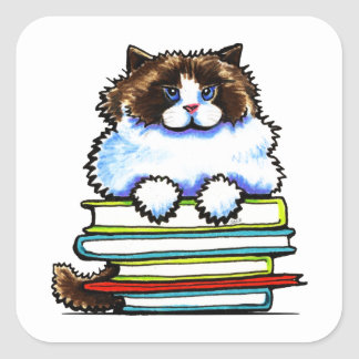 Smart Ragdoll Kitty Books Square Sticker