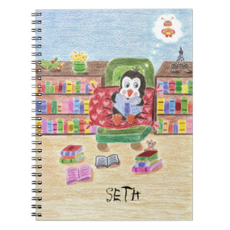 Smart reading penguin personalized kid notebook