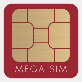 Smart SIM Card mega format faux gold Square Sticker
