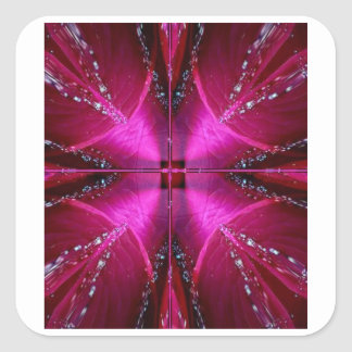 Smart Simple Graphics - Sparkle Red n Pink Rose Square Stickers
