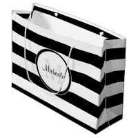 Smart Solid Black and White Stripes With Monogram