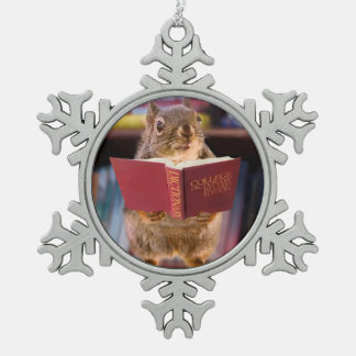 Smart Squirrel Reading a Dictionary Snowflake Pewter Christmas Ornament