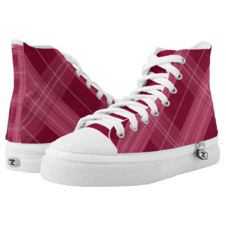Smart trendy Maroon color checks pattern shoes
