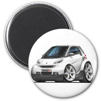 Smart White Car 6 Cm Round Magnet