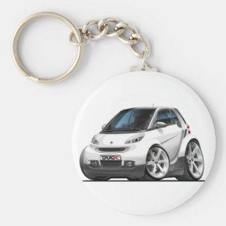 Smart White Car Basic Round Button Key Ring