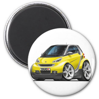 Smart Yellow Car 6 Cm Round Magnet