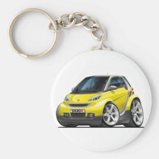 Smart Yellow Car Basic Round Button Key Ring